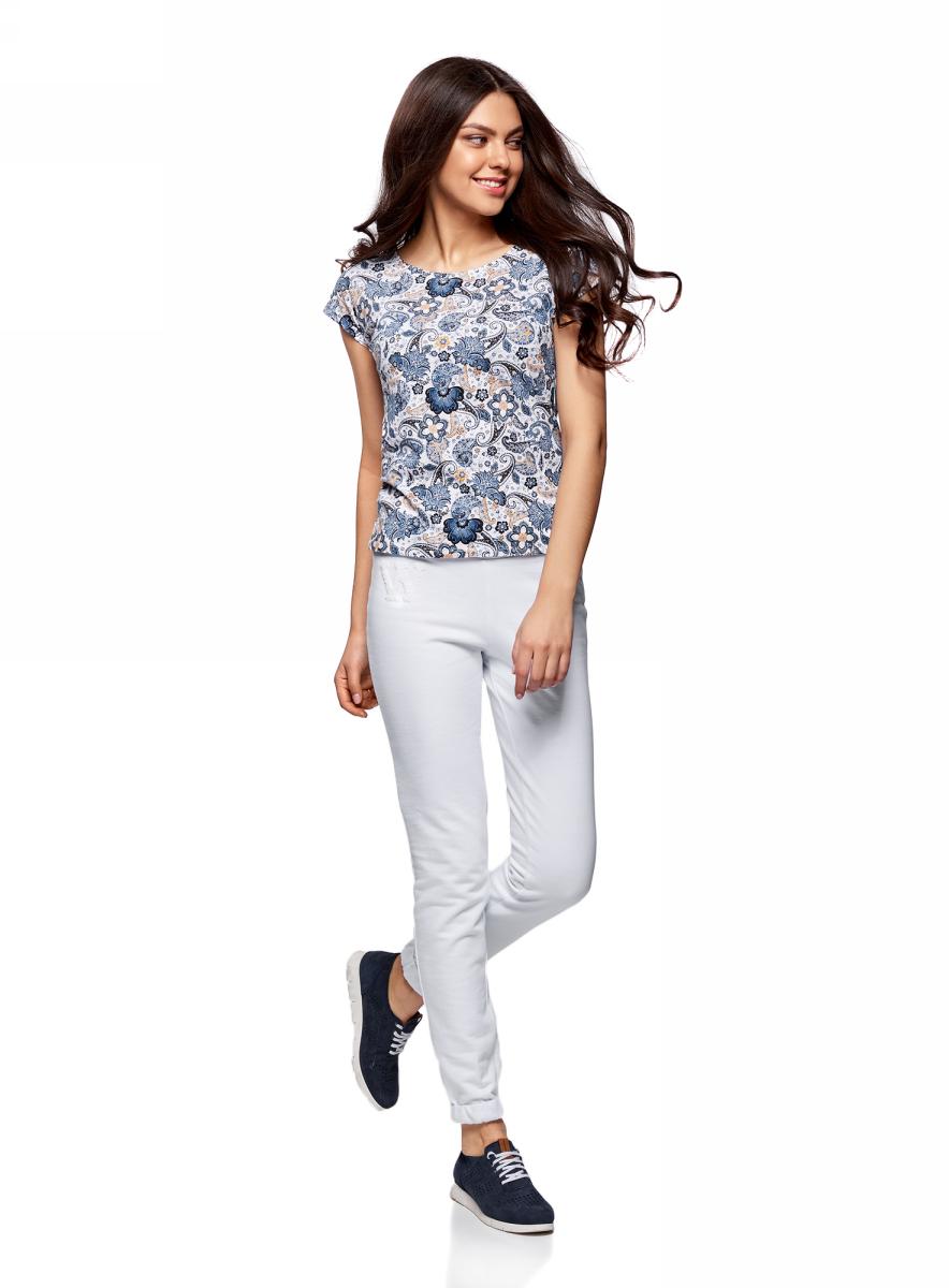 Купить Брюки спортивные женские oodji Ultra, цвет: белый. 16701010-3/46980/1000N. Размер M (46)