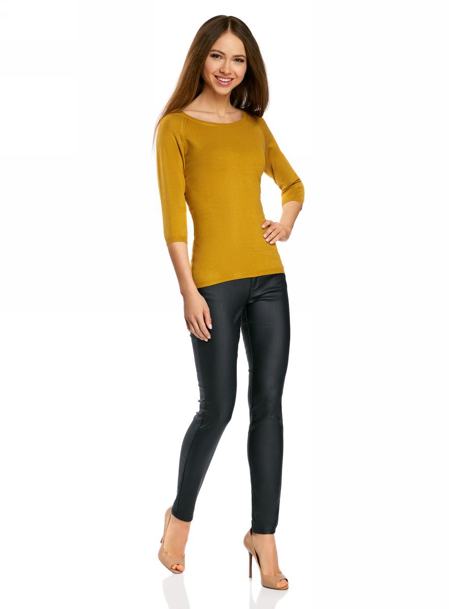 Джемпер женский oodji Collection, цвет: горчичный. 73812552-2B/45904/5700N. Размер XL (50) жакет женский oodji collection цвет сиреневый меланж 73212401 1b 45904 8000m размер xxl 52