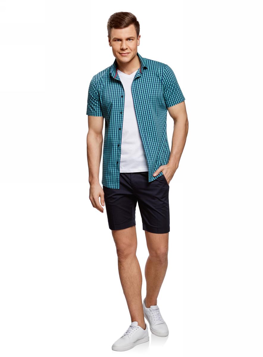 Рубашка мужская oodji Lab, цвет: морская волна, темно-синий. 3L240005M/39767N/6C79C. Размер 42-182 (52-182)3L240005M/39767N/6C79CМужская рубашка от oodji выполнена из хлопкового материала. Модель приталенного кроя с длинными рукавами застегивается на пуговицы.