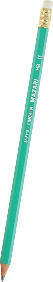 Mazari Карандаш чернографитный Linea с ластиком2275901Чернографитный заточенный карандаш Mazari Linea - идеальный инструмент для письма, рисования и черчения.Шестигранный корпус выполнен из пластика.Высококачественный ударопрочный грифель не крошится и не ломается при заточке.На конце карандаша расположен ластик. Он легко и аккуратно удаляет надписи, сделанные карандашом.