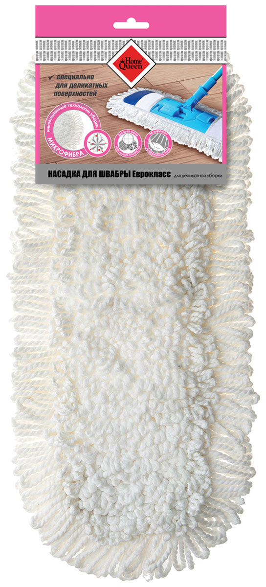 Насадка для швабры HomeQueen, для деликатной уборки, цвет: белый70060Насадка HomeQueen специально для деликатных поверхностей. Высокая износостойкость. Отлично впитывает влагу.Насадка подходит к швабрам 70061, 56649.