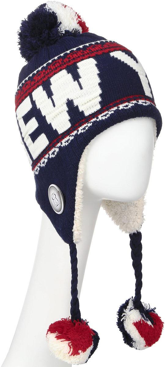 Шапка Robin Ruth New York, цвет: темно-синий, красный. HNY506-L. Размер универсальныйHNY506-LСтильная шапка Robin Ruth с вязаной надписью New York приятно дополнит ваш образ в холодную погоду. Шапка подходит для повседневной носки и для активного зимнего отдыха, а также в качестве подарка вашим родным и знакомым.Внешняя сторона шапки - вязаное полотно, подкладка - мягкий плюшевый мех. Шапка с завязками очень практична - благодаря широким и удлиненным ушкам тепло и комфорт вам обеспечены даже в самую ветреную погоду.Шапка оформлена помпоном, завязки выполнены в виде кос с помпонами на концах и декорирована пластиковым значком с логотипом фирмы. Теплая шапка станет отличным дополнением к вашему гардеробу, в ней вам будет уютно и тепло!