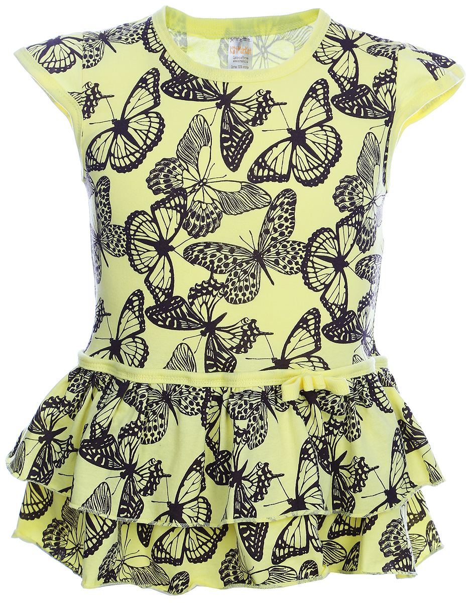 Платье для девочки КотМарКот, цвет: желтый, черный. 21502. Размер 9821502