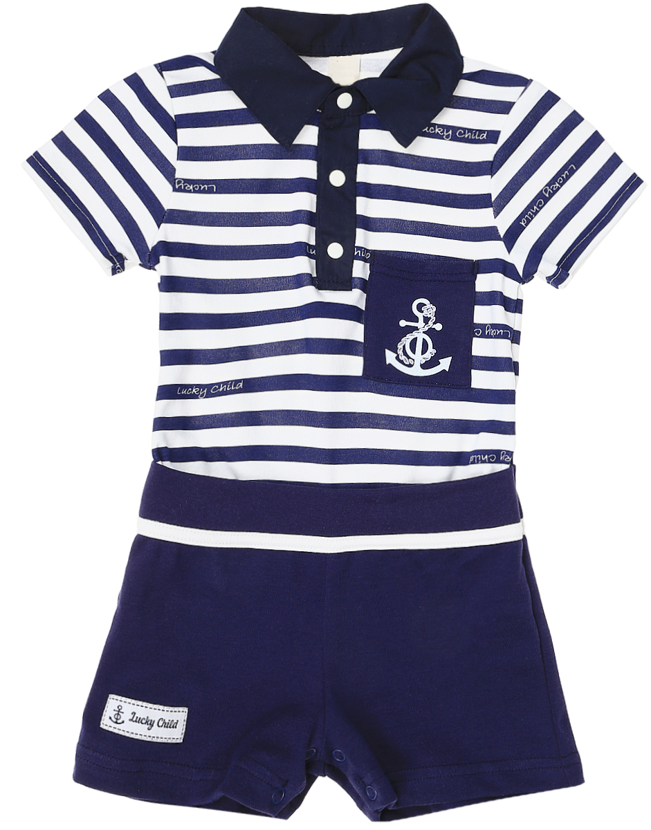 Песочник для мальчика Lucky Child Лазурный берег, цвет: белый, темно-синий. 28-28М. Размер 92/98