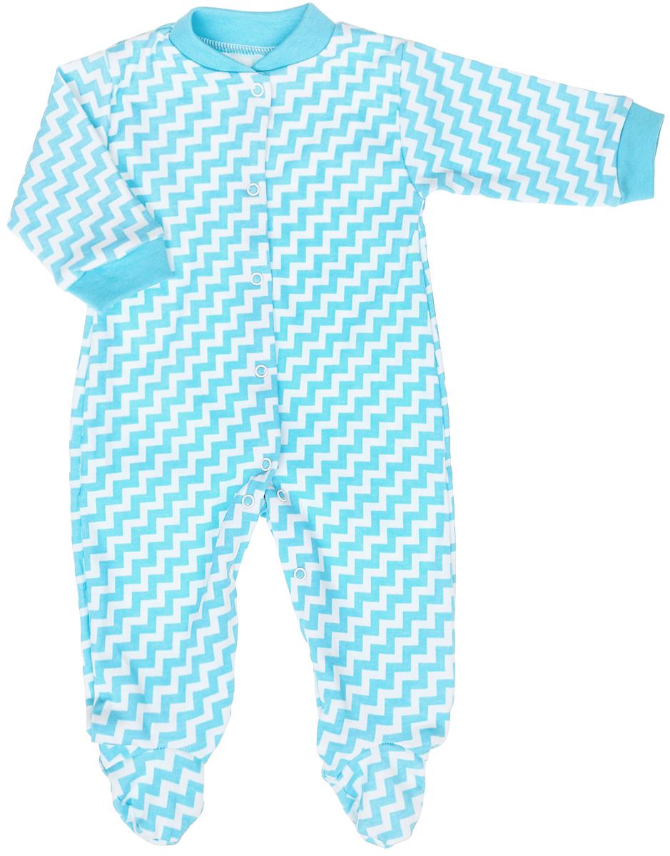 Комбинезон домашний для мальчика Веселый малыш One, цвет: бирюзовый. 51152/One-B (1). Размер 62 комбинезоны и полукомбинезоны веселый малыш комбинезон олени 51142