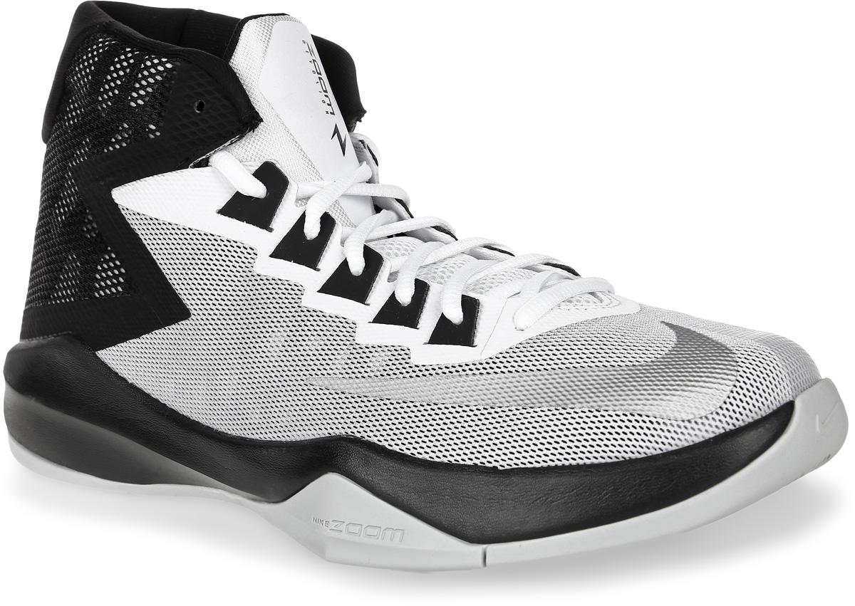Кроссовки для баскетбола мужские Nike Zoom Devosion Basketball Shoe, цвет: белый, черный. 844592-100. Размер 10,5 (44)844592-100Кроссовки для баскетбола Zoom Devosion Basketball Shoe от Nike обеспечивают непревзойденную амортизацию и комфорт. Модель выполнена из сетчатого текстиля с бесшовными полимерными накладками. Материал обеспечивает отличную воздухопроницаемость. Бесшовная конструкция повышает уровень комфорта в движении. Литая стелька обеспечивает дополнительную поддержку. Подкладка из текстиля не натирает. Технология Zoom и подошва Cushlon обеспечивают оптимальную амортизацию и смягчают ударные нагрузки.