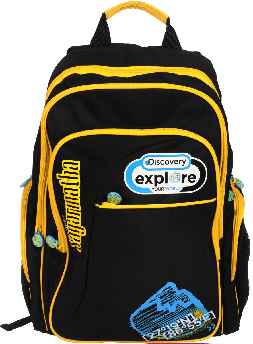 Action! Рюкзак школьный Discovery цвет черный желтыйDV-AB11055/2/14Школьный рюкзак Action! Discovery станет надежным спутником в получении знаний.Рюкзак выполнен из прочного полиэстера.Рюкзак состоит из двух вместительных отделений, закрывающихся на молнии. Одно из отделений содержит кармашек для мелочей на застежке-молнии и открытый карман с уплотненной стенкой на хлястике с липучкой. Во втором отделении расположен большой открытый карман-сетка.На лицевой стороне имеются два кармана на молнии - прорезной и накладной. В накладном расположены два открытых кармашка и три фиксатора для пишущих принадлежностей. По бокам рюкзака находятся два внешних накладных кармана, закрывающихся на молнии, и по два открытых сетчатых кармашка. Рюкзак оснащен широкими мягкими лямками, регулируемыми по длине, которые равномерно распределяют нагрузку на плечевой пояс, и двумя удобными текстильными ручками для переноски в руке.Рюкзак снабжен светоотражающими вставками.