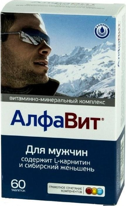 Витаминно-минеральный комплекс Алфавит Для мужчин, 60 таблеток209705Витаминно-минеральный комплекс Алфавит Для мужчин, созданный c учетом научных рекомендаций по раздельному и совместному приему полезных веществ. В состав входят все витамины и необходимые минералы. Их суточная доза разделена на 3 таблетки. Такое разделение устраняет нежелательные взаимодействия среди витаминов и минералов и обеспечивает гипоаллергенность.Традиционное трехразовое питание позволяет совместить прием таблеток с завтраком, обедом и ужином. Витамины-антиоксиданты (витамин А, С и Е) защищают мужской организм от вредного воздействия внешней среды и замедляют процессы старения.Витамины группы В (В6, В12 и фолиевая кислота) играют важнейшую роль в метаболизме гомоцистеина и необходимы для профилактики развития сердечно-сосудистых заболеваний.Сочетание цинка и витамина А повышает иммунитет и улучшает образование спермы и помогает поддержать потенцию.Витаминно-минеральный комплекс Алфавит Для мужчин подходит в качестве дополнительного источника витаминов, макро- и микроэлементов, источника каротиноидов, L-таурина, L-карнитина, элеутерозидов.Сфера применения: Витаминология.Макро- и микроэлементы.Товар сертифицирован.
