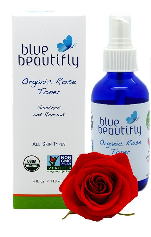 Blue Beautifly Органический тонер с экстрактом Розы, 118 млBB-021Органический тонер является мощным антиоксидантом, противовоспалительным, подтягивающим и удивительно нежным средством по уходу за кожей лица. Укрепляет, восстанавливает, регулирует выработку кожного сала, улучшает эластичность, смягчает раздражение и помогает справиться с солнечными ожогами. Приятный аромат Розы успокаивает, оказывая оздоровительный эффект и анти-стрессовое воздействие.USDA сертифицированный органический продукт.