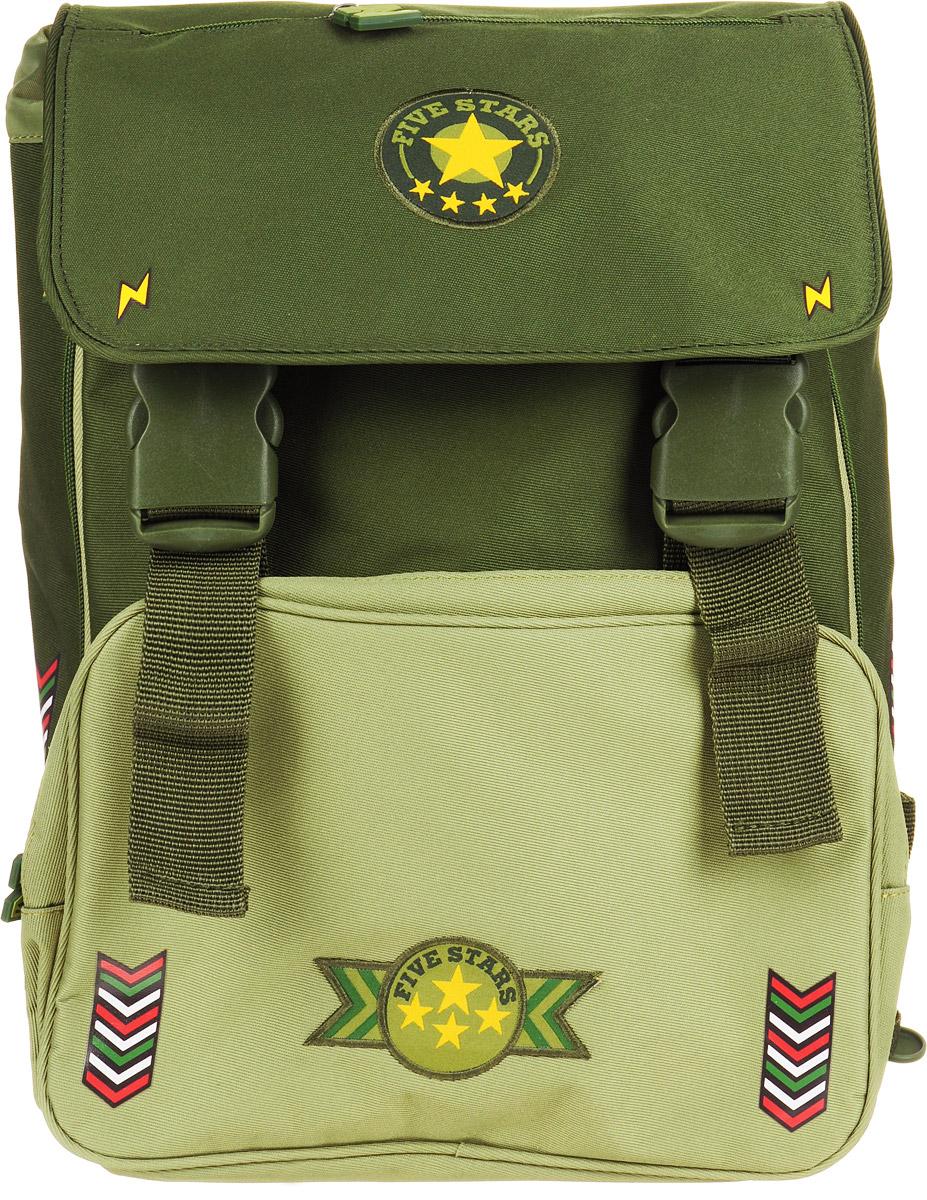 Proff Рюкзак школьный Military цвет зеленыйMI15-BPA-02Детский рюкзак Proff Military с оригинальным принтом понравится любому школьнику.Рюкзак содержит вместительное отделение, закрывающееся затягивающимся шнурком и клапаном с двумя фастексами. Внутри отделения находятся две мягкие перегородки с хлястиком на липучке, открытый карман и нашивной кармашек на застежке-молнии. С внешней стороны на клапане имеется прорезной карман на застежке-молнии. Лицевая сторона изделия оснащена накладным карманом на молнии, внутри которого расположена текстильная лента с кольцом для ключей. Рюкзак оснащен ручкой с резиновой насадкой для удобной переноски.Особая многослойная конструкция задней стенки оснащена мягкими подкладками, принимающими анатомическую форму, что обеспечивает оптимальное прилегание к спине и равномерное распределение нагрузки, а воздухообменная сетка обеспечивает максимальный комфорт при эксплуатации. Мягкие анатомические лямки позволяют легко и быстро отрегулировать рюкзак в соответствии с ростом. Дно с пластиковыми ножками обеспечивает защиту от загрязнений. Светоотражающие элементы не оставят незамеченным вашего ребенка в темное время суток.