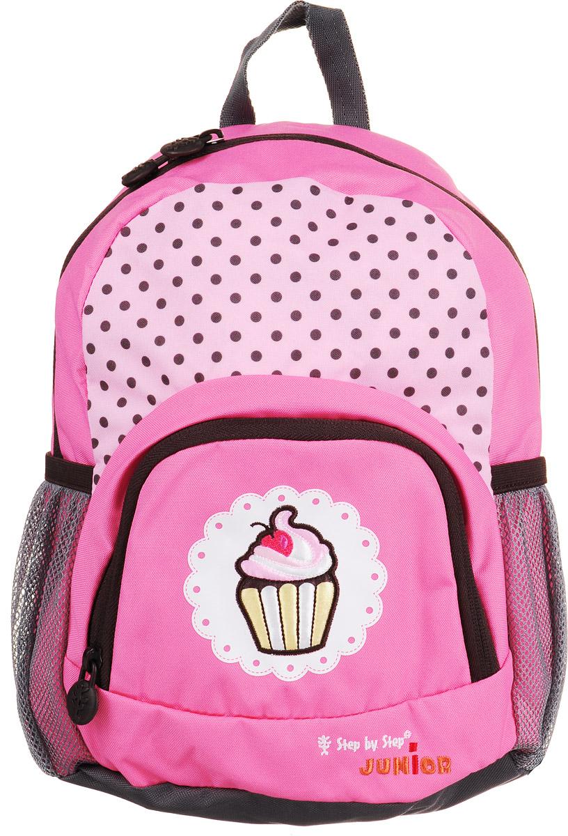 Hama Рюкзак дошкольный Dressy Sweet Cake138406Дошкольный рюкзак Hama Dressy Sweet Cake - это идеальная модель, разработанная специально для дошкольников.Рюкзак имеет одно внутреннее отделение, закрывающееся на застежку-молнию с двумя бегунками. Внутри отделения находится открытый карман на резинке. На лицевой стороне рюкзака имеется небольшой накладной кармашек на молнии, а по бокам - два открытых сетчатых кармана. В рюкзак превосходно поместятся цветные мелки, книжки-раскраски и игрушки.Изделие оснащено удобной текстильной ручкой для переноски в руке и двумя анатомическими лямками регулируемой длины. Грудное крепление предусмотрено для фиксации лямок на плечах ребенка.