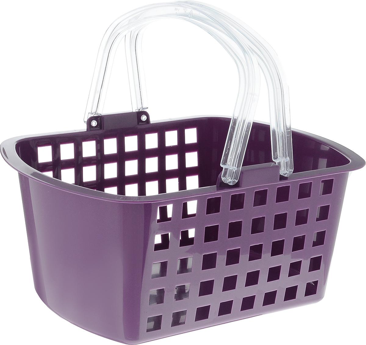 Корзинка универсальная Econova, цвет: фиолетовый, прозрачный, 31 х 24 х 15 см корзинка универсальная econova с ручками цвет красный 19 х 18 5 х 23 см