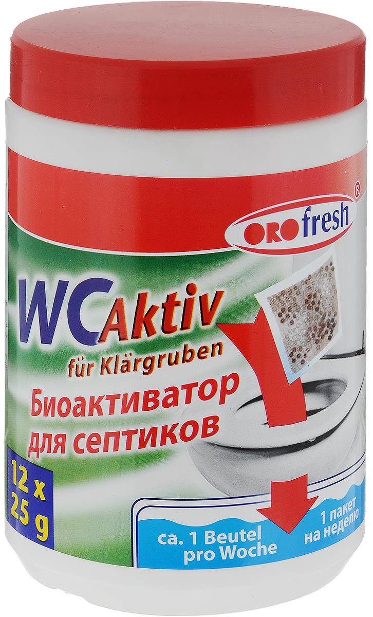 """Биоактиватор для септиков ORO-Fresh """"WC Aktiv"""" является биологическим активатором для септиков, выгребных ям и туалетных очистительных установок. Биобактерии представляют собой смешанную культуру различных микроорганизмов, берущихся из живой природы, предварительно размноженных на твердом минеральном носителе. Смесь специальных микроорганизмов предназначена для естественной биологической очистки сливных очистительных установок. Биоактиватор поддерживает процесс биологического разложения, сокращает имеющиеся отложения и замедляет процесс образования новых, продлевает период между удалениями разложившихся осадков, значительно снижает выделение неприятного фекального запаха, способствует сокращению частоты откачиваний. Биоактиватор поставляется в виде готовых к применению порционных пакетов. Пакет необходимо разрезать, высыпать содержимое в унитаз и смыть водой. Товар сертифицирован."""