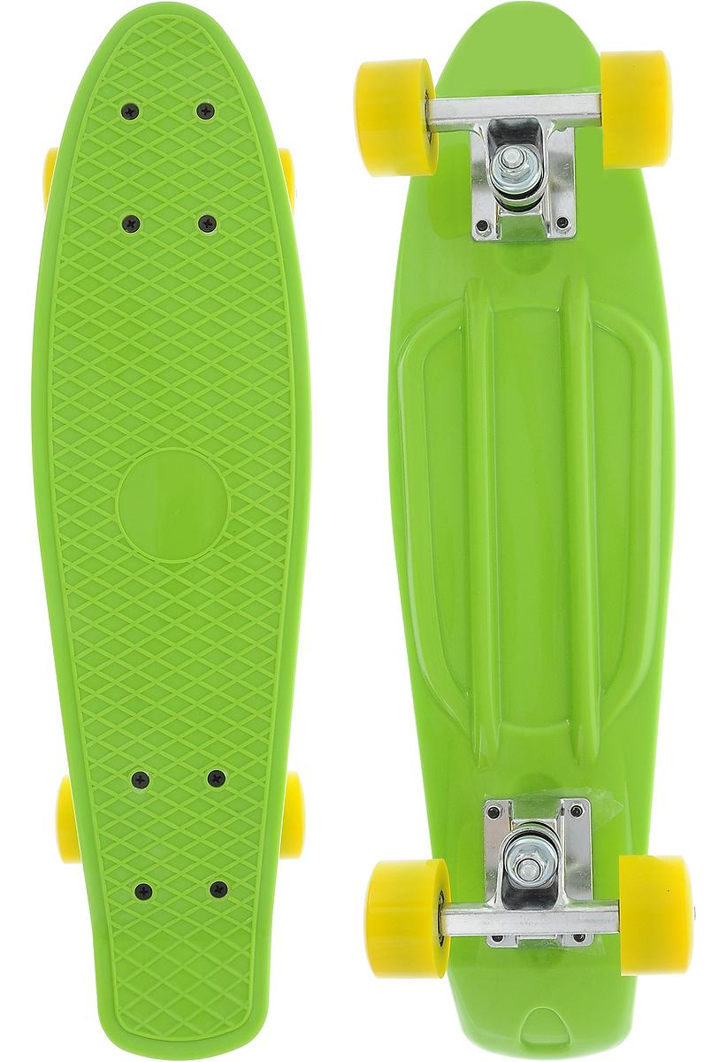 """Скейтборд пластиковый """"Action"""", цвет: зеленый, дека 55 см х 15 см"""