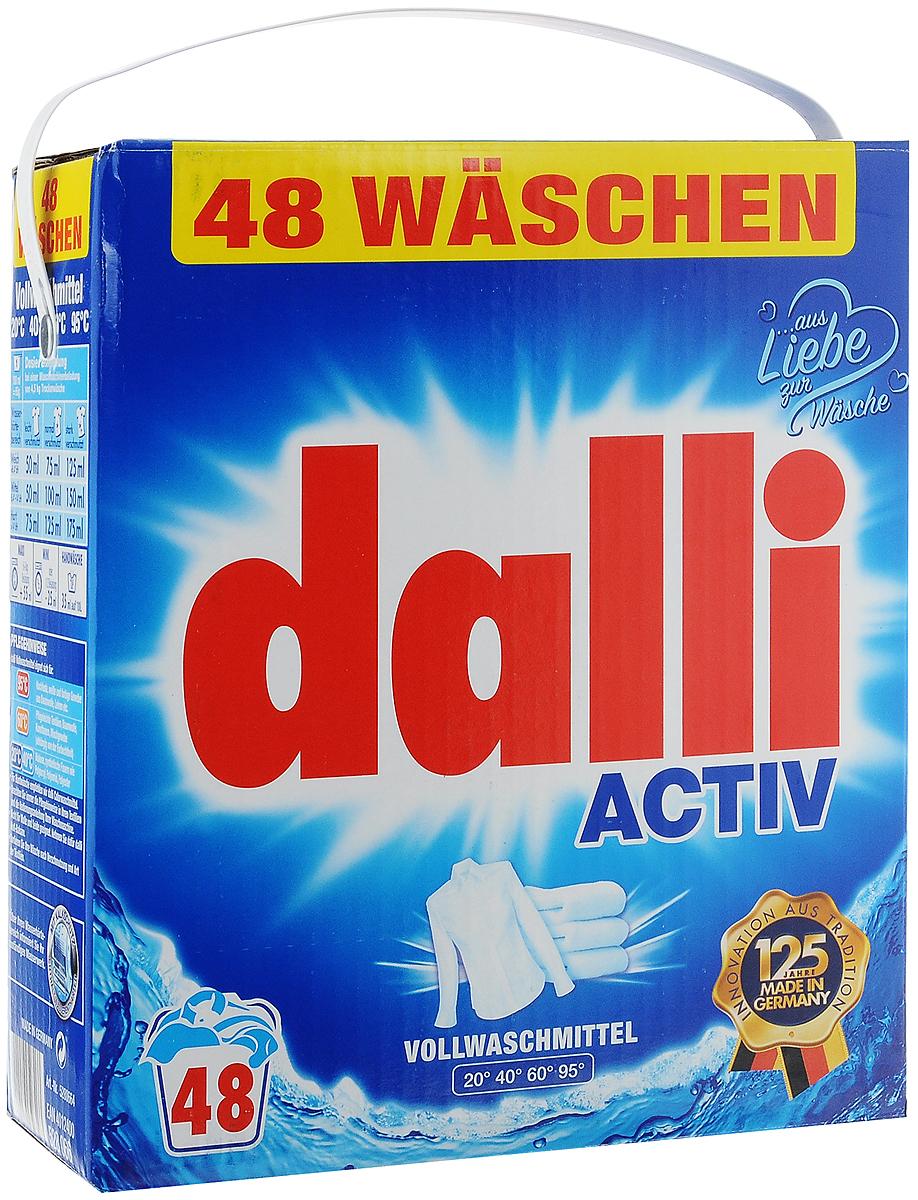 Стиральный порошок Dalli Activ, универсальный, 3,12 кг528066Универсальный стиральный порошок Dalli Activ с новой формулой и ОХI эффектом для глубокой очистки волокон превосходно удаляет даже трудновыводимые и застарелые загрязнения уже при температуре 20°С. Белье и одежда снова становятся чистыми и ухоженными. Порошок подходит для ручной и машинной стирки белого белья из хлопка, льна, искусственных волокон, смесовых тканей. Оригинальная рецептура, оптимально подобранные компоненты и входящий в состав активный кислород обеспечивают наивысший отстирывающий показатель в диапазоне температур от 20 до 95°С. Порошок не повреждает волокна тканей и сохраняет яркость и насыщенность красок цветного белья. Не рекомендуется для шерсти и шелка. Одна упаковка рассчитана на 48 стирок. Товар сертифицирован.