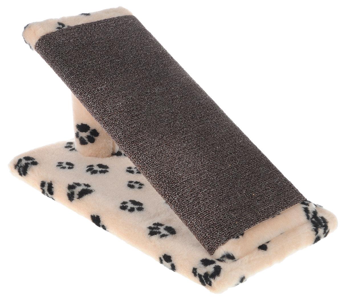 Когтеточка для котят Меридиан Горка, цвет: бежевый, черный, 45 х 25 х 25 см