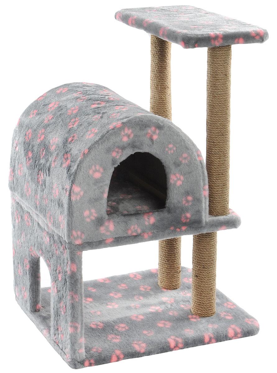 Домик-когтеточка Меридиан, полукруглый, двухэтажный, с полкой, цвет: серый, розовый, бежевый, 55 х 40 х 85 см ботинки женские purlina цвет черный оранжевый b647 4 размер 36