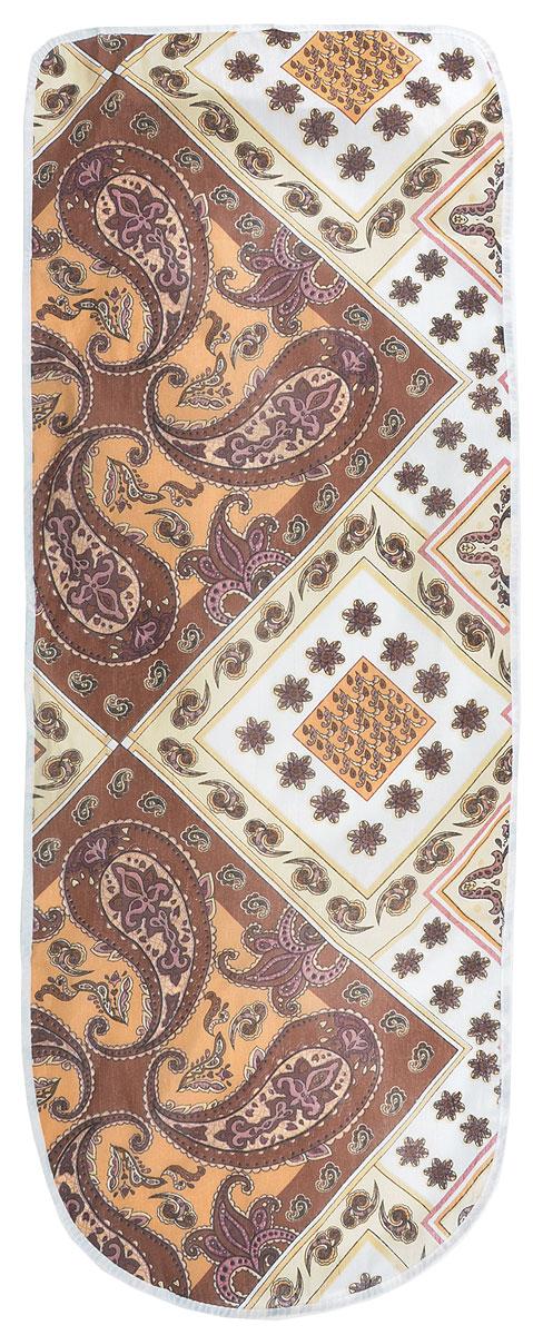Чехол для гладильной доски Detalle, цвет: темно-коричневый, бежевый, белый, 125 х 47 см