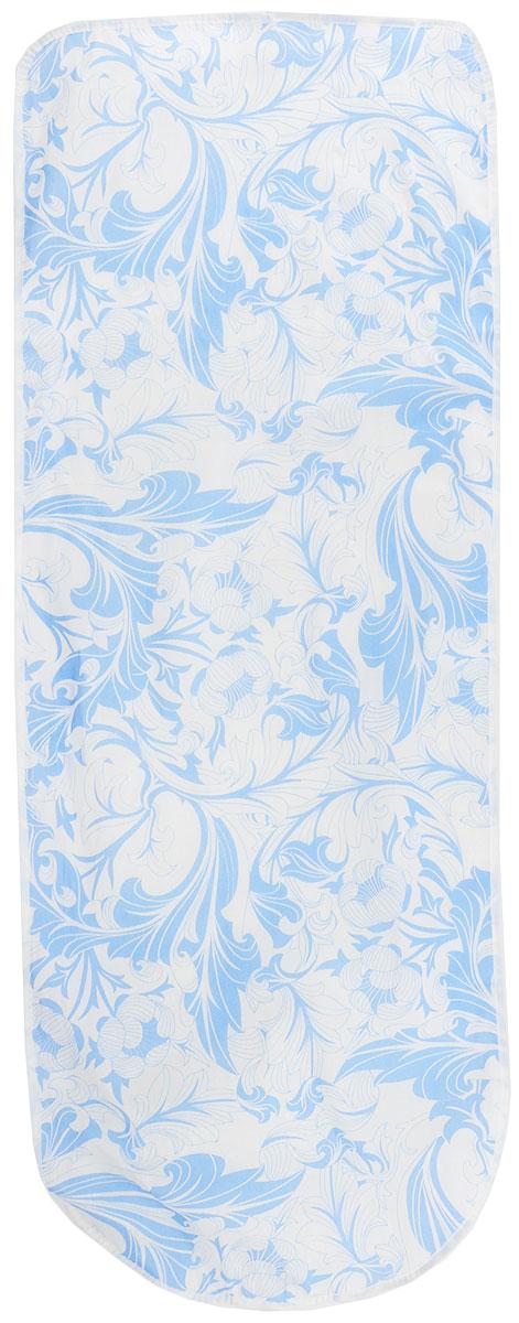 Чехол для гладильной доски Eva Узоры, цвет: голубой, белый, 125 х 47 смЕ13_голубой, белыйЧехол Eva Узоры, выполненный из хлопка с поролоновым слоем, продлит срок службы вашей гладильнойдоски. Чехол снабжен стягивающим шнуром, припомощи которого вы легко отрегулируетеоптимальное натяжение чехла и зафиксируете его нарабочей поверхности гладильной доски.Размер чехла: 125 х 47 см. Максимальный размер доски: 116 х 47 см.