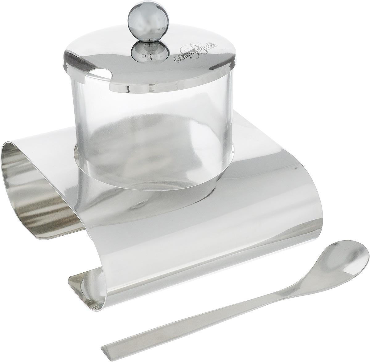 Сахарница BartonSteel, с ложкой и подставкой, 200 мл1004BS/NEWСахарница BartonSteel изготовлена из высококачественного стекла и нержавеющей стали. Стеклянная емкость устанавливается на специальной подставке. Сахарница закрывается металлической крышкой с выемкой для ложки. К изделию прилагается ложечка. Сахарница BartonSteel станет незаменимым атрибутом любого чаепития, праздничного, вечернего или на открытом воздухе, а также подчеркнет ваш изысканный вкус.Диаметр сахарницы (по верхнему краю): 7 см. Диаметр основания сахарницы: 6,2 см. Высота сахарницы (без учета крышки): 8 см.Высота сахарницы (с учетом крышки и подставки): 8,5 см. Длина ложечки: 11,8 см.