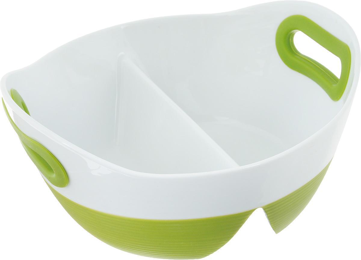 Блюдо для запекания и сервировки BartonSteel, цвет: зеленый, белый, 1,2 л2413BSБлюдо для запекания и сервировки BartonSteel изготовлено из высококачественного фарфора. Изделие разделено на две части, благодаря этому вы сможете одновременно приготовить два блюда. Ручки снабжены силиконовыми вставками, что убережет ваши руки от воздействия высоких температур. Блюдо можно использовать в духовке и СВЧ.Размеры блюда: 23 х 21,5 х 10,5 см.