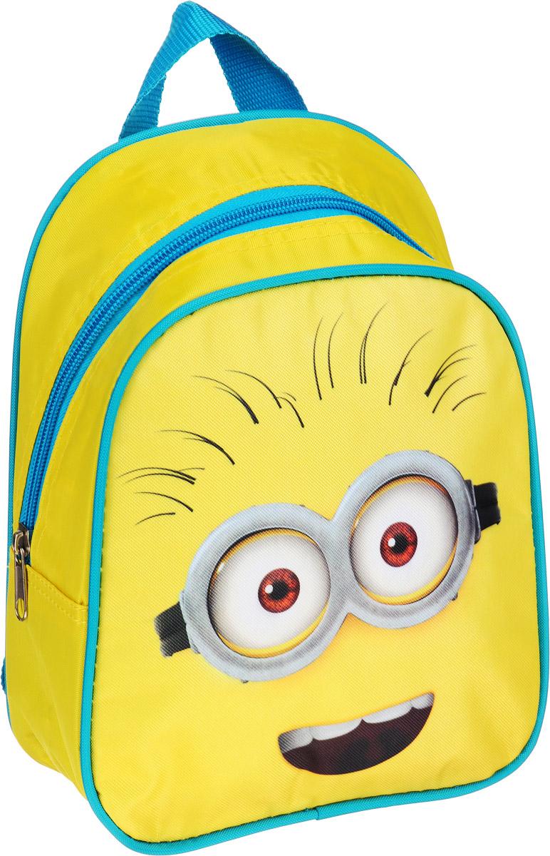 Universal Миньоны Рюкзак дошкольный цвет желтый голубой32229Очаровательный дошкольный рюкзачок Миньоны - это практичный, удобный и привлекательный аксессуар для вашего ребенка.В его внутреннем отделении на молнии легко поместятся не только игрушки, но даже тетрадка или книжка. Благодаря регулируемым лямкам, рюкзачок подходит детям любого роста. Удобная ручка помогает носить аксессуар в руке или размещать на вешалке. Износостойкий материал с водонепроницаемой основой и подкладка обеспечивают изделию длительный срок службы и помогают держать вещи сухими в дождливую погоду. Аксессуар декорирован ярким принтом с любимыми героями ребенка (сублимированной печатью), устойчивым к истиранию и выгоранию на солнце.