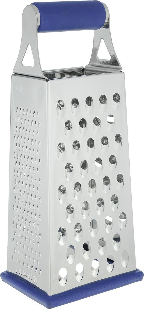 """Терка """"Bohmann"""" изготовлена из высококачественной нержавеющей стали с зеркальной полировкой. Терка оснащена удобной ручкой с силиконовой вставкой, которая не позволит изделию выскользнуть из рук. На одной терке представлены четыре вида терок - крупная, мелкая, терка для овощных пюре, и шинковка. Низ терки также снабжен силиконовой вставкой, что предотвратит скольжение изделия по поверхности. Каждая хозяйка оценит все преимущества этой терки. Благодаря этому можно удовлетворить любые потребности по нарезке различных продуктов.Наслаждайтесь приготовлением пищи с многофункциональной теркой """"Bohmann"""".Можно мыть в посудомоечной машине."""