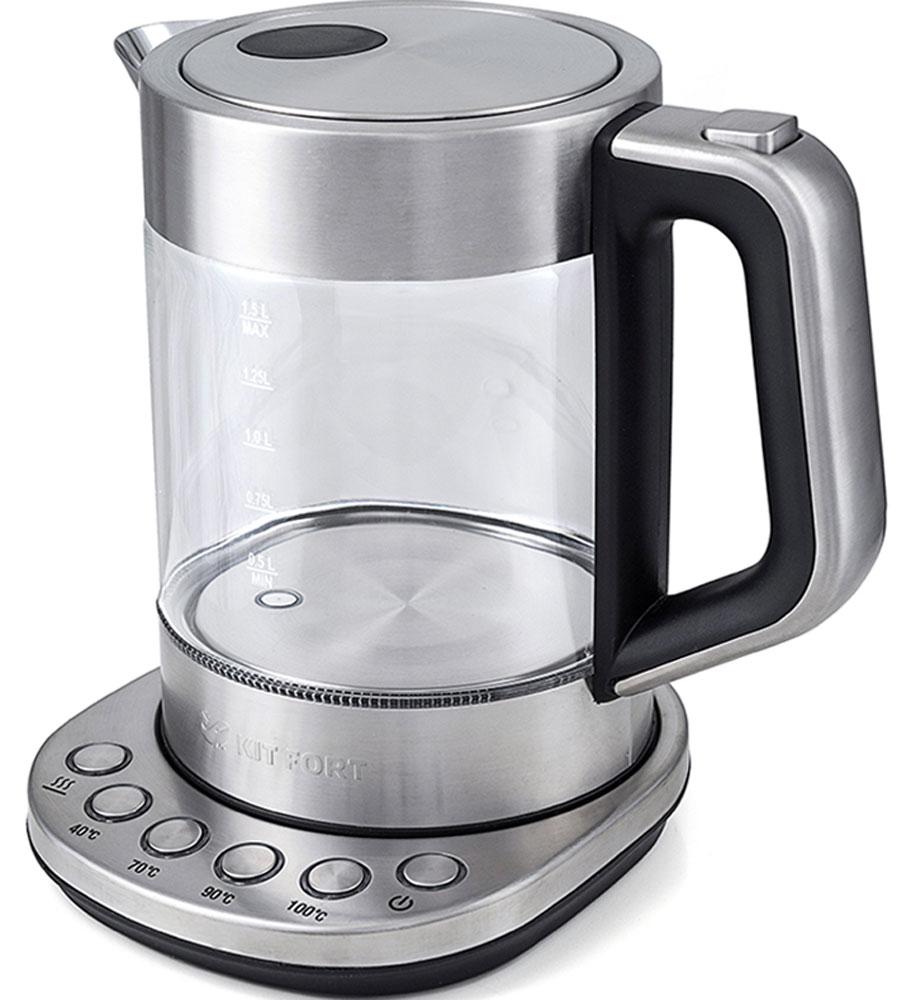 Kitfort КТ-616 чайник электрическийКТ-616Электрический чайник с терморегулятором Kitfort КТ-616 может не только вскипятить воду, но и нагреть ее дотемпературы 40, 70 и 90°С, что очень удобно при заваривании различных сортов чая. Температура 40 °Спригодится для приготовления детского питания. Чайник также оснащен функцией поддержания температуры.Температура воды контролируется встроенным в дно чайника термодатчиком.Корпус чайника Kitfort КТ-616 выполнен из стекла, а крышка и подставка — из сочетания пластмассы инержавеющей стали. Ручка чайника пластиковая, не нагревается и удобно лежит в руке.Нагревательный элемент (ТЭН) у этой модели чайника скрытый и находится в дне. Сверху он закрыт специальнойметаллической пластиной из нержавеющей стали, благодаря которой исключается прямой контакт ТЭНа с водой.Такая конструкция препятствует образованию накипи, облегчает уход и значительно снижает шум принагревании воды.Чайник автоматически отключается при закипании и при снятии его с подставки, имеет защиту от перегрева изащиту от включения без воды.Подставка с центральным контактом дает возможность ставить чайник на нее в любом положении, обеспечиваявращение на 360°. Снизу имеется отсек для хранения шнура, в который можно смотать излишки шнураэлектропитания.