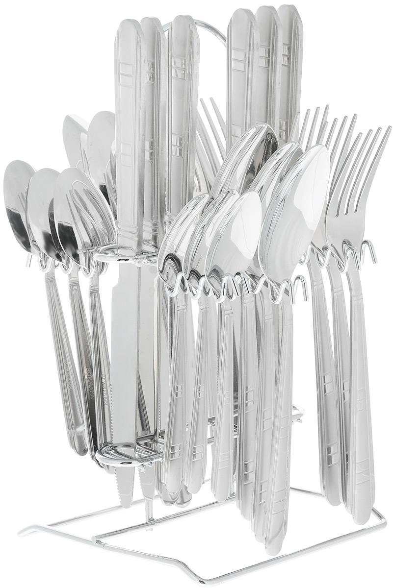 Набор столовых приборов Bohmann, на подставке, 25 предметов5425BHНабор столовых приборов Bohmann изготовлен из высококачественной нержавеющей стали с зеркальной полировкой. В набор входит 25 предметов: 6 столовых ножей, 6 суповых ложек, 6 столовых вилок, 6 чайных ложек и подставка. Лаконичный дизайн, качество исполнения и функциональность сделают этот набор незаменимым на любой кухне.Простой, но в то же время стильный дизайн приборов подчеркнет ваш безупречный вкус.Можно мыть в посудомоечной машине.Длина ножа: 23,5 см.Длина суповой ложки: 20,5 см.Длина вилки: 20,5 см.Длина чайной ложки: 15 см.Размер подставки: 13,5 х 13,5 х 25,5 см.