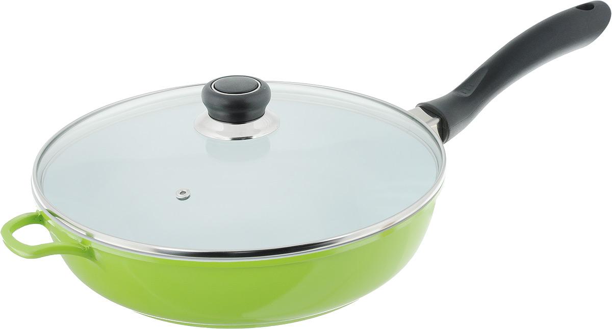 Сковорода Bohmann с крышкой, со съемной ручкой, с керамическим покрытием, цвет: белый, зеленый. Диаметр 28 см7528BHWCR/6Сковорода Bohmann выполнена из кованого алюминия с внутренним керамическим покрытием. Изделие имеет высокую теплопроводность, во время приготовления тепло эффективно удерживается, что позволяет сокращать время приготовления продуктов. Покрытие предотвращает пригорание пищи и обеспечивает безупречное приготовление блюд. Можно готовить с минимальным количеством масла или без него.Сковорода снабжена жаростойкой стеклянной крышкой, которая позволяет контролировать процесс приготовления без потери тепла. Съемная ручка с покрытием Soft-Touch удобна в применении и не нагревается во время готовки.Сковорода подходит для использования на всех типах плит. Можно мыть в посудомоечной машине. Длина ручки: 20 см.Высота стенки: 7 см.Диаметр индукционного диска: 18,5 см.