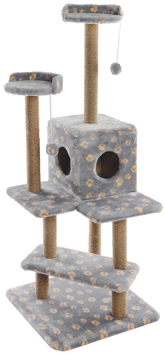 Игровой комплекс для кошек Меридиан Лестница, цвет: серый, бежевый, 56 х 50 х 142 смД151Ла_серый, бежевые лапкиИгровой комплекс для кошек Меридиан Лестница выполнен из высококачественного ДВП и ДСП и обтянут искусственным мехом. Изделие предназначено для кошек. Ваш домашний питомец будет с удовольствием точить когти о специальные столбики, изготовленные из джута. А отдохнуть он сможет либо на полках, либо в домике. Общий размер: 56 х 50 х 142 см.Размер верхних полок: 27 х 27 см.Размер домика: 31 х 31 х 32 см.