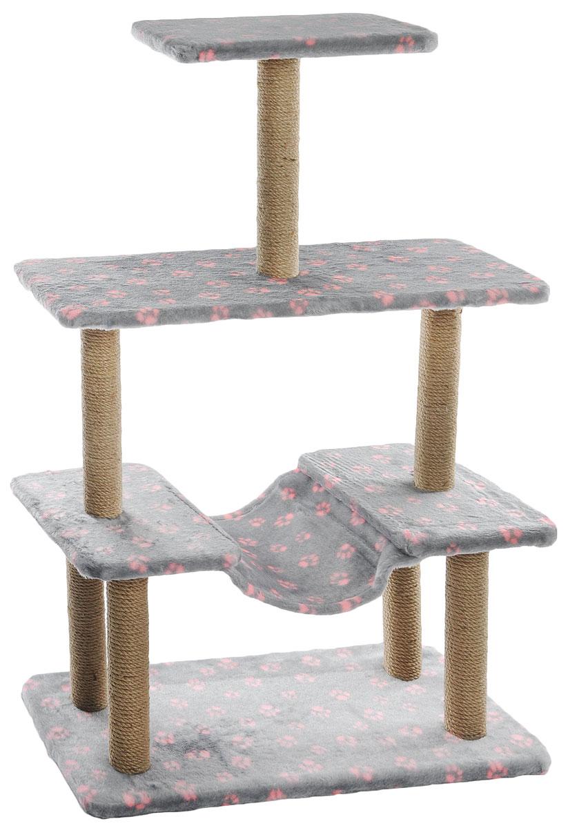 Когтеточка  Меридиан , с гамаком, цвет: серый, розовый, бежевый, 81 х 41 х 130 см - Когтеточки и игровые комплексы