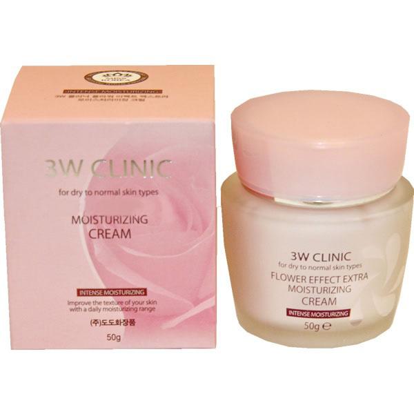 3W Clinic Крем для лица увлажняющий Flower Effect Extra Moisture Cream, 50 гр282930Крем для лица увлажняющийРоскошный крем для ухода за нормальной и сухой кожей лица, обогащенный целебными цветочными экстрактами. Легкая, приятная текстура крема быстро впитывается и насыщает кожу необходимым питанием, а также глубоко увлажняет, освежает и тонизирует кожу, оставляя на ней тонкий едва уловимый цветочный аромат.Цветочные экстракты в составе крема наполняют кожу влагой, успокаивают и спопосбствуют уменьшению раздражени и покраснений кожи, а также оказывают антиоксидантную защиту и оберегают от агрессивного воздействия окружающей среды, делают кожу гладкой, дарят ей нежный цвет.Кроме цветочных экстрактов в составе крема гиалуроновая кислота, которая оказывает интенсивное увлажняющее действие, ускоряет синтез собственного коллагена и эластина, а также влияет на иммунные реакции, защищает клетки от свободных радикалов и оберегает кожу от преждевременного старения. Незаметная тончайшая пленка, которую создает на поверхности кожи гиалуроновая кислота, предотвращает испарение воды, сохраняя влагу внутри, при этом она не закупоривает поры кожи, а также способствует более глубокому проникновению других активных компонентов крема.При регулярном применении крем сделает кожу упругой и эластичной, мягкой и нежной, как лепестки изысканных цветов, а также защитит от агрессивного воздействия окружающей среды.