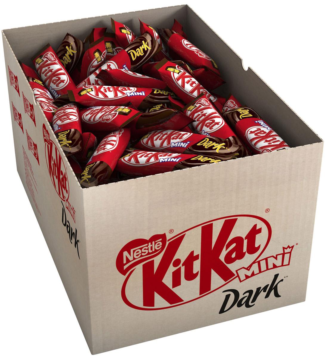 KitKat Mini темный шоколад с хрустящей вафлей, 3 кг12265928Мини формат батончика KitKat с хрустящей вафлей в темном шоколаде. Удобный формат к чаю, чтобы взять с собой в дорогу.
