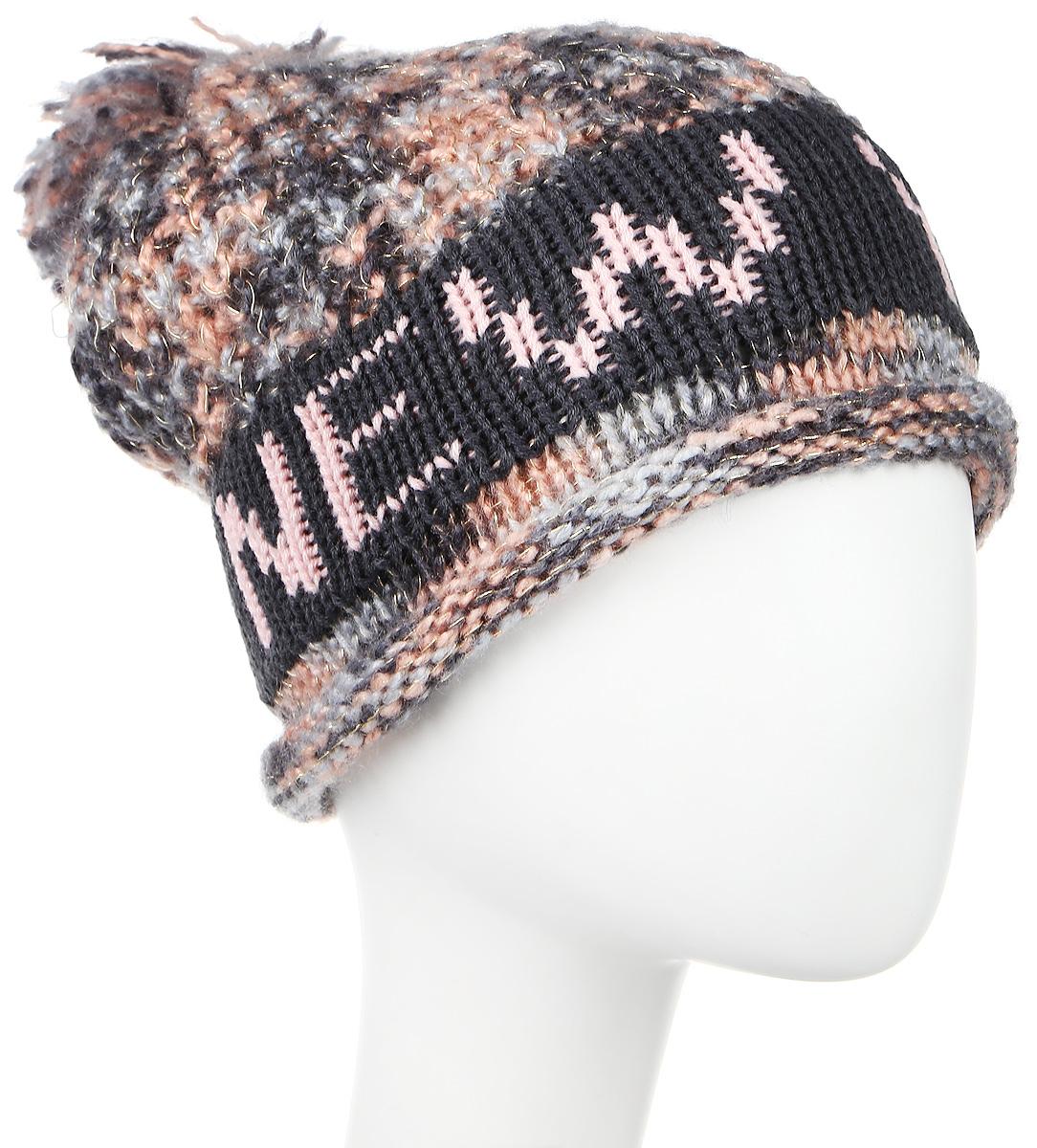 цена Шапка Robin Ruth New York, цвет: серый, розовый. HNY156-E. Размер универсальный онлайн в 2017 году
