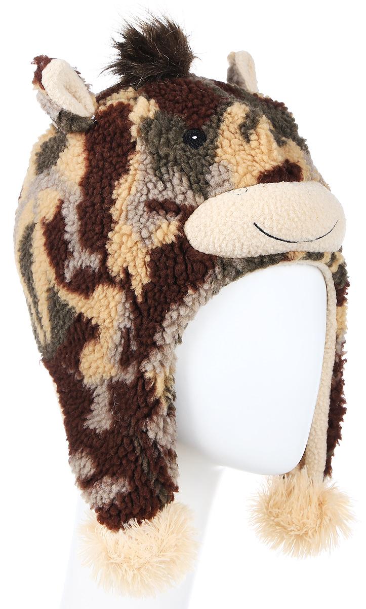 Шапка детская R.Mountain, цвет: коричневый. ICE 8230. Размер 54/61ICE 8230Теплая шапка R.Mountain выполнена из ворсистого мягкого акрила. Модель оформлена оригинальным принтом и нашивками в виде мордочки жирафа. Удлиненные ушки оформлены пушистыми помпонами. Подкладка выполнена из мягкого плюша, который хорошо удерживает тепло.