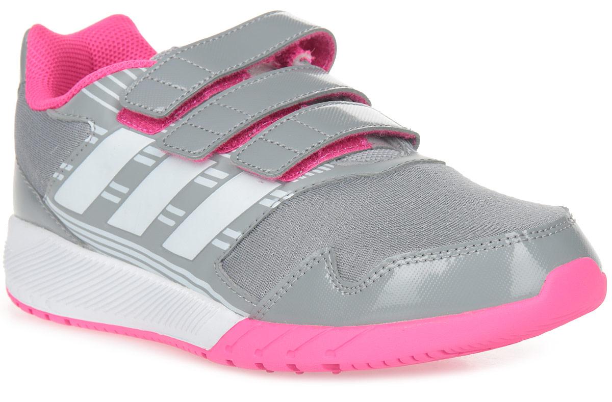 Кроссовки для девочки adidas AltaRun CF K, цвет: серый, белый, фиолетовый. BA7917. Размер 5 (37)BA7917В этих детских беговых кроссовках удобно как играть, так и заниматься спортом. Прочная и при этом гибкая конструкция обеспечивает ежедневный комфорт. Дышащий верх из сетки дополнен вставками, поддерживающими стопу в правильном положении. Двухцветная промежуточная подошва в спортивном стиле и ремешки на липучках.