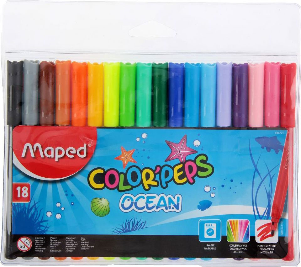 Maped Набор фломастеров ColorPeps Ocean смываемые 18 цветов2887476Фломастеры Maped ColorPeps Ocean непременно понравится вашему юному художнику. Фломастеры легко смываются с рук и отстирываются. Пластиковый корпус и вентилируемый колпачок предохраняют чернила от преждевременного высыхания, что гарантирует длительный срок службы. Фломастеры подходят как для рисования, так и для письма.