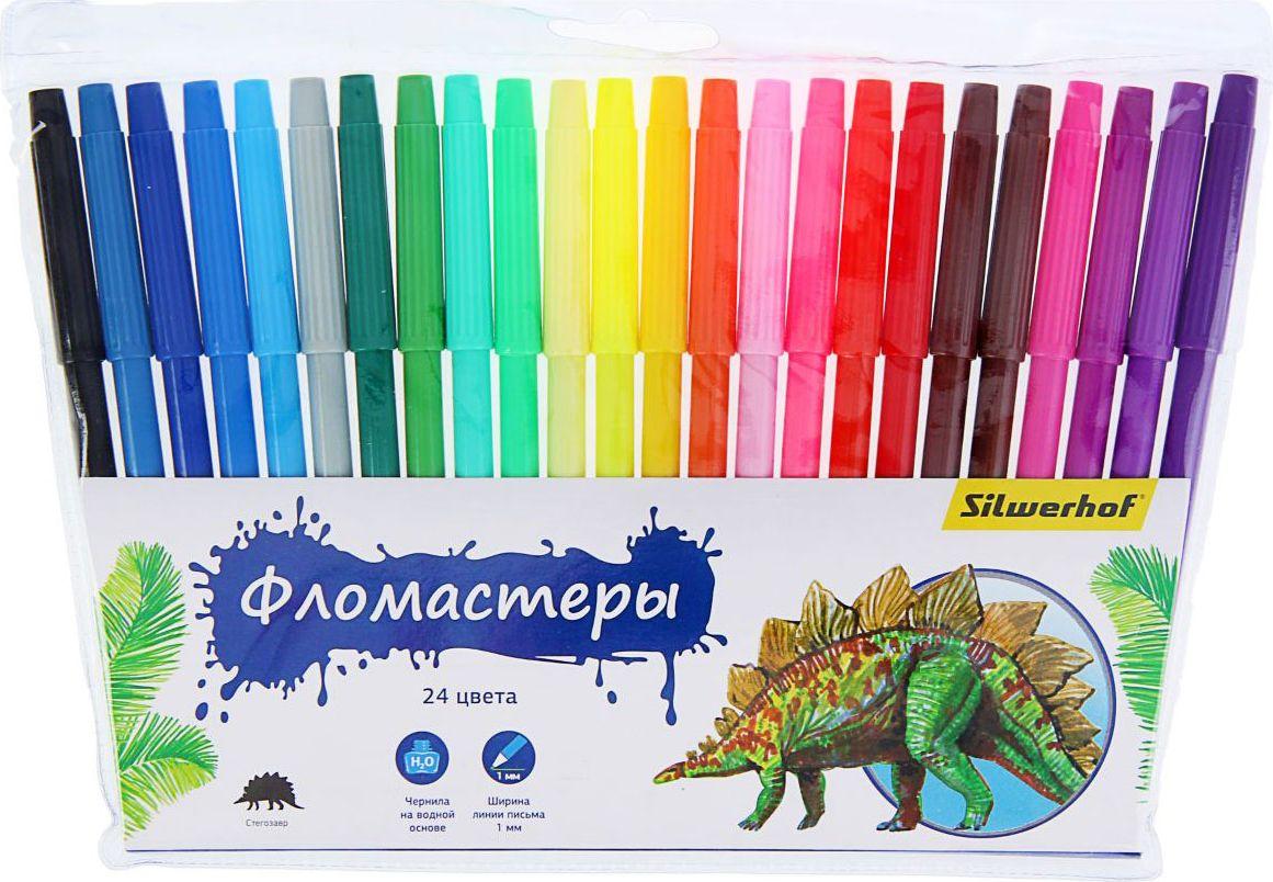Silwerhof Набор фломастеров Динозавры 24 цвета1384632Набор фломастеров Silwerhof Динозавры предназначен для маленьких и любознательных малышей. Он включает в себя 24 уникальных разноцветных фломастера. Каждый фломастер оснащен вентилируемым колпачком. Отстирываются с большинства поверхностей. Толщина линии примерно 1 мм. Фломастеры упакованы в пластиковую упаковку с подвесом.