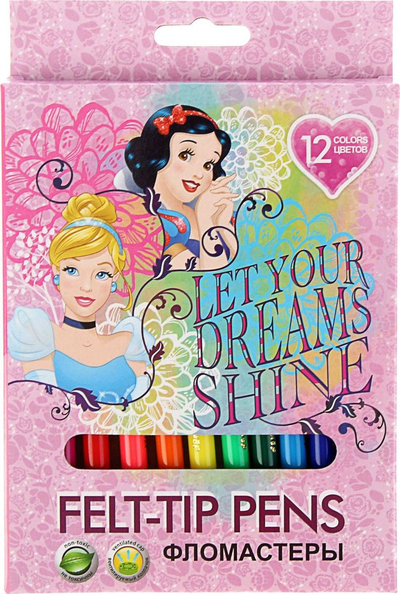 Disney Набор фломастеров Принцессы 12 цветов disney прописи для девочек принцессы