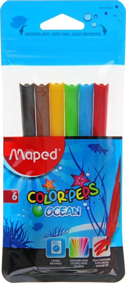 Maped Набор фломастеров Color'Peps Ocean смываемые 6 цветов фломастеры maped color peps ocean 12 цветов смываемые