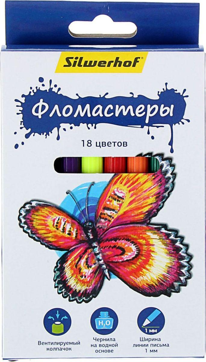 Silwerhof Набор фломастеров Бабочки 18 цветов 14305731430573Набор фломастеров Silwerhof Бабочки предназначен для маленьких и любознательных малышей. Он включает в себя 18 уникальных разноцветных фломастера. Каждый фломастер оснащен вентилируемым колпачком. Отстирываются с большинства поверхностей. Толщина линии примерно 1 мм. Фломастеры упакованы в картонную коробку с подвесом.
