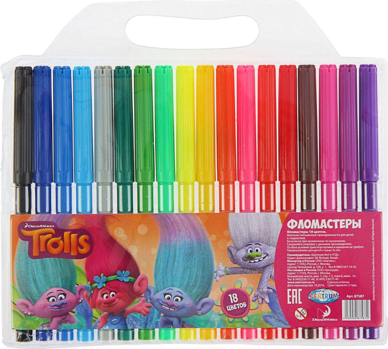 Trolls Набор фломастеров морозостойкие 18 цветов1802682Набор морозостойких фломастеров Trolls предназначен для маленьких и любознательных малышей. Он включает в себя 18 уникальных разноцветных фломастера. Каждый фломастер оснащен вентилируемым колпачком. Фломастеры упакованы в пластиковую упаковку с подвесом.