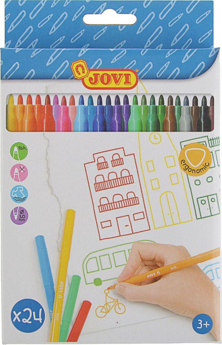 Jovi Набор фломастеров 24 цвета2255566Набор Jovi состоит из 24 разноцветных фломастеров, которые отлично подойдут и для школьных занятий, и просто для рисования. Фломастеры рисуют яркими насыщенными цветами. Чернила на водной основе легко смываются с кожи и отстирываются с большинства тканей. Корпус фломастеров изготовлен из пластика, а колпачок имеет специальные прорези, что еще больше увеличивает срок службы чернил и предотвращает их преждевременное высыхание.Порадуйте своих детей великолепными фломастерами.
