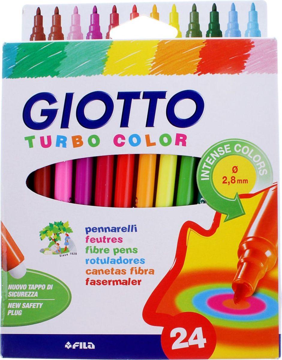 Giotto Набор фломастеров Turbo Color 24 цвета505604AST APP 24 GIOTTO TURBO COLOR 24 цв. Фломастеры. Вентилируемый колпачок, фетровый наконечник. Чернила на водной основе. Легко отстирываются и смываются с рук. Открытый фломастер может храниться больше месяца. Яркие насыщенные цвета.
