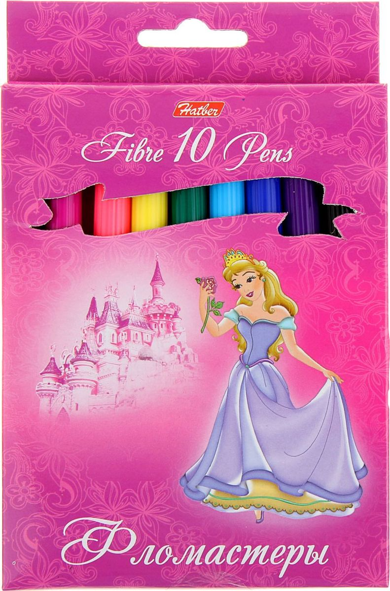 Hatber Набор фломастеров Принцессы на розовом 10 цветов858979