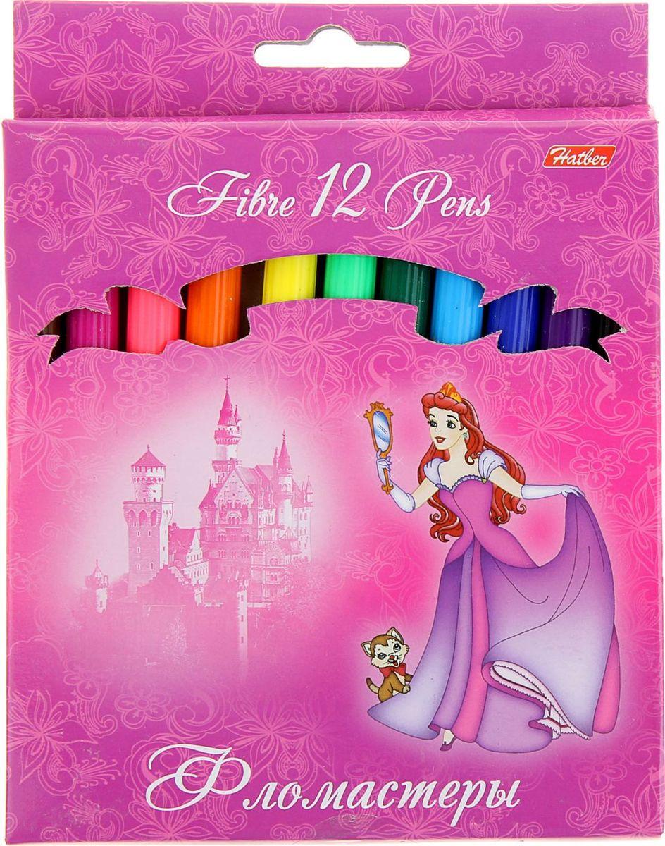 Hatber Набор фломастеров Принцессы на розовом 12 цветов858982