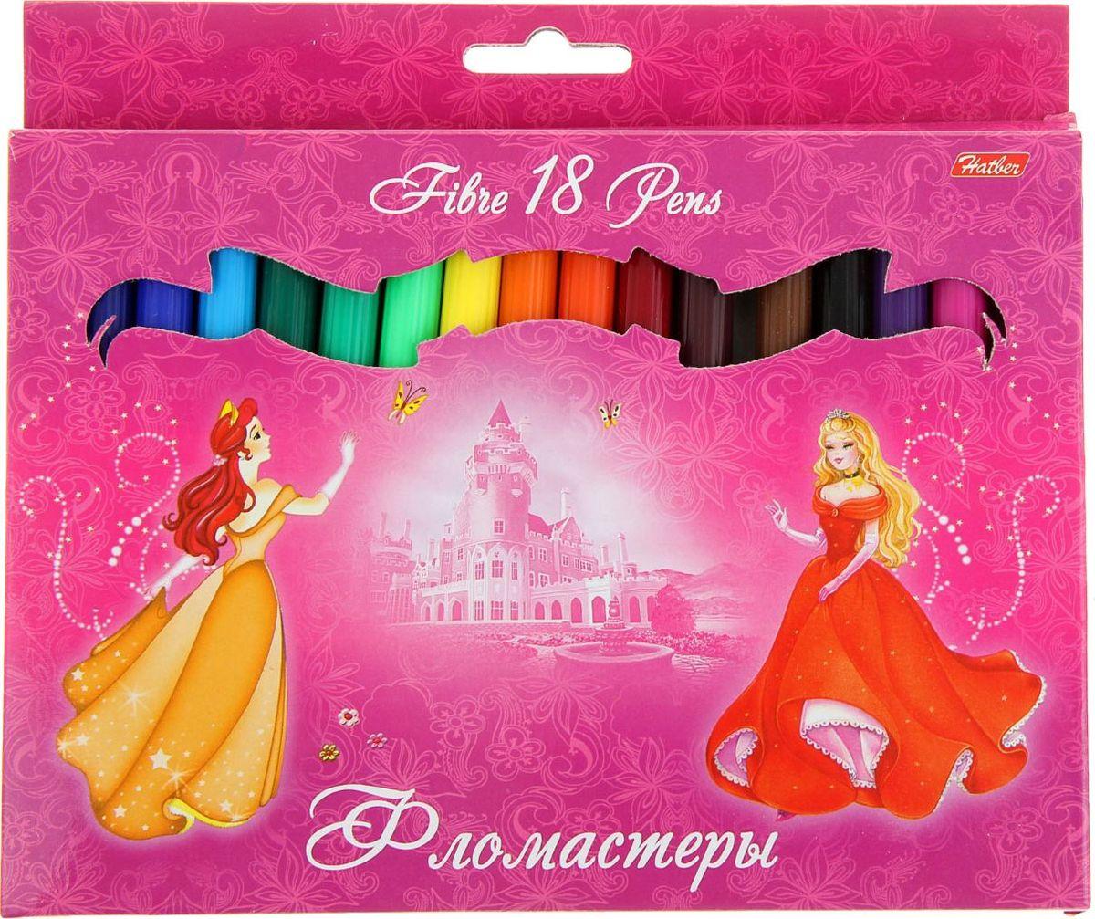 Hatber Набор фломастеров Принцессы на розовом 18 цветов858987