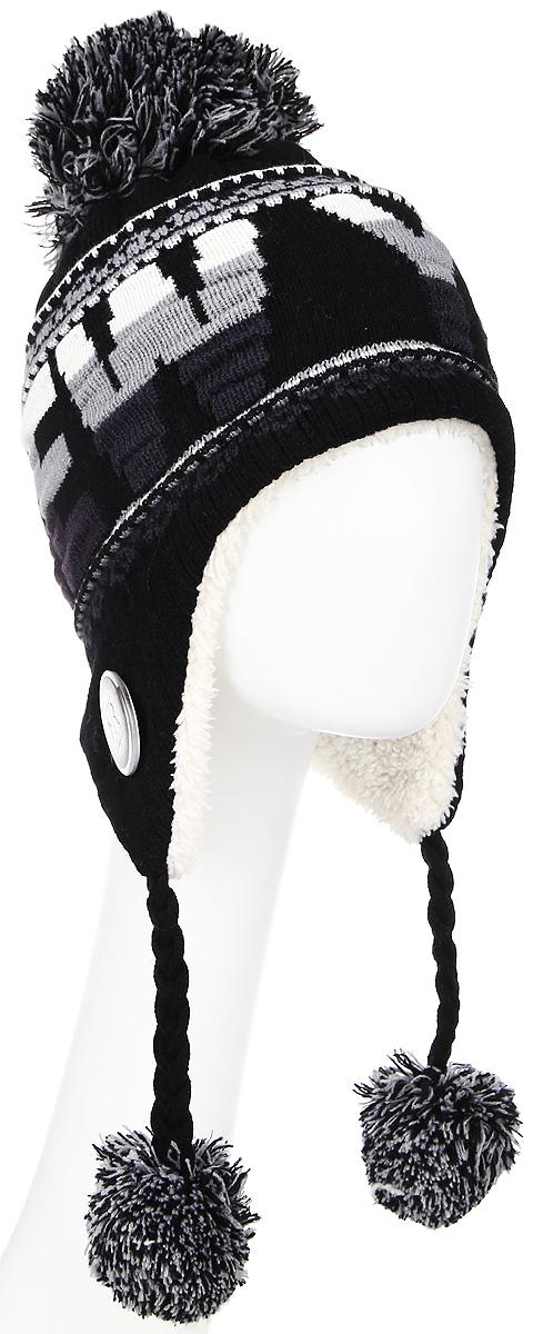 Шапка Robin Ruth New-York, цвет: черный, серый. HNY505-Z. Размер универсальныйHNY505-ZСтильная шапка Robin Ruth спринтом New York приятно дополнит ваш образ в холодную погоду. Шапка подходит для повседневной носки и для активного зимнего отдыха, а также в качестве подарка вашим родным и знакомым.Внешняя сторона шапки - вязаное полотно, подкладка - мягкий флис. Шапка с завязками очень практична - благодаря широким и удлиненным ушкам тепло и комфорт вам обеспечены даже в самую ветреную погоду.Шапка оформлена помпоном, завязки выполнены в виде кос с помпонами на концах и декорирована пластиковым значком с логотипом фирмы. Теплая шапка станет отличным дополнением к вашему гардеробу, в ней вам будет уютно и тепло!