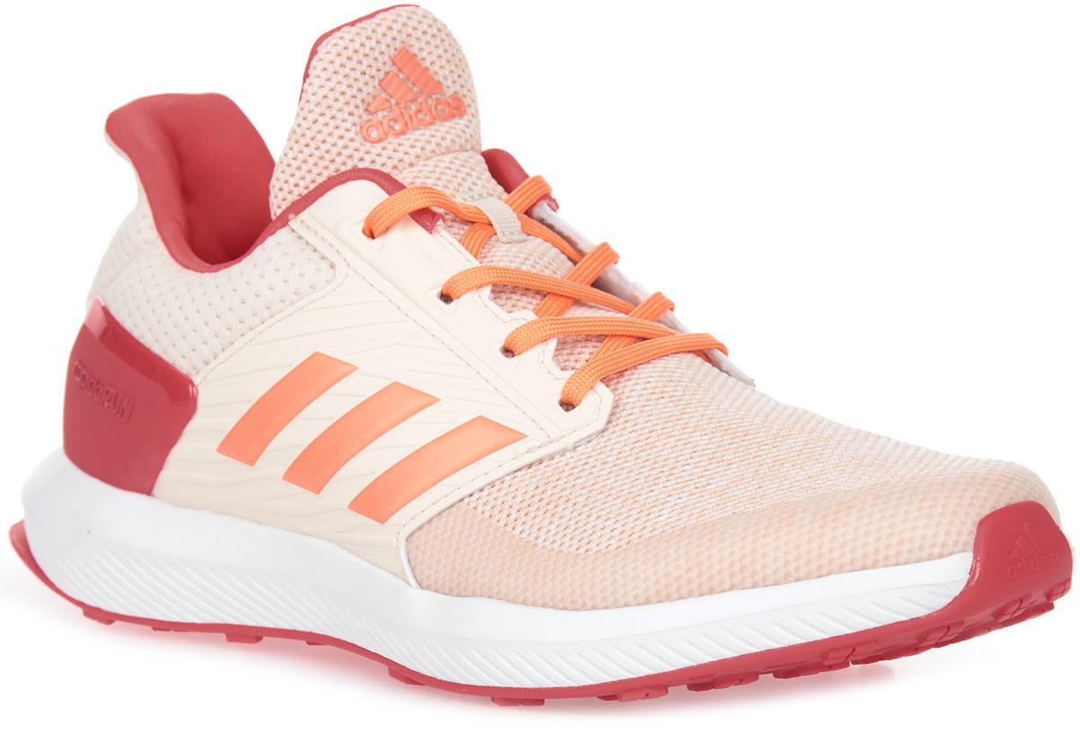 Кроссовки для девочки adidas RapidaRun K, цвет: белый, розовый, коралловый. BA9435. Размер 34,5BA9435Юным ножкам, которые бегают и прыгают весь день, нужна хорошая амортизация. Эти детские беговые кроссовки дополнены мягкой стелькой cloudfoam SURROUND с эффектом памяти, которая поглощает ударную нагрузку. Сетчатый верх со специальными вставками обеспечивает дополнительную поддержку в передней и средней частях стопы, а также в области пятки. Каркас задника из термополиуретана для дополнительной поддержки.Стелька cloudfoam SURROUND из пены с эффектом памяти плотно прилегает к стопе, обеспечивая безупречный комфорт.